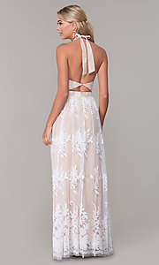 Image of high-neck long halter prom dress by PromGirl. Style: LUX-PL-LD5352 Back Image