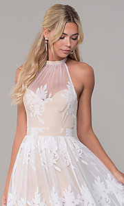 Image of high-neck long halter prom dress by PromGirl. Style: LUX-PL-LD5352 Detail Image 1