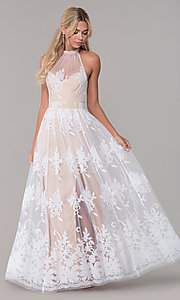 Image of high-neck long halter prom dress by PromGirl. Style: LUX-PL-LD5352 Detail Image 3
