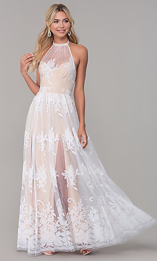 e480a015339 High-Neck Long Halter Prom Dress by PromGirl