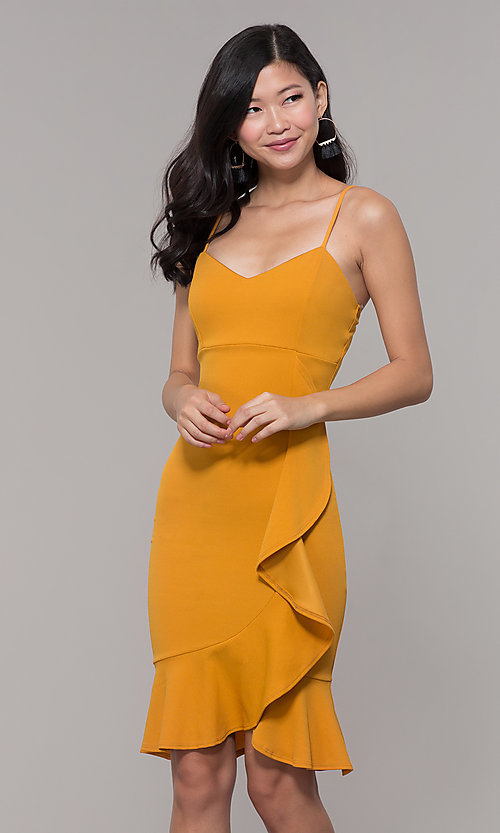2eaf21d1f3f Image of knee-length mustard yellow wedding-guest dress. Style  TOP-