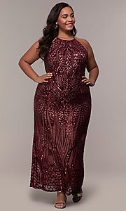 Image of art-deco-inspired long sequin plus-size prom dress. Style: MO-21576WM Detail Image 3