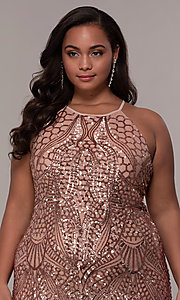 Image of art-deco-inspired long sequin plus-size prom dress. Style: MO-21576WM Detail Image 6