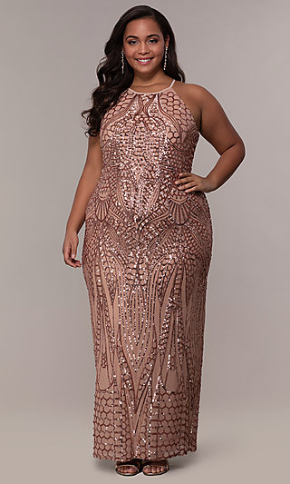 Art Deco Inspired Long Sequin Plus-size Prom Dress