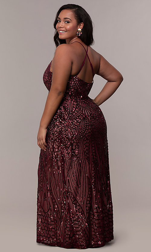 Image of art-deco-inspired long sequin plus-size prom dress. Style: MO-21576WM Back Image