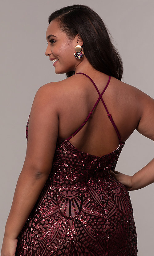 Image of art-deco-inspired long sequin plus-size prom dress. Style: MO-21576WM Detail Image 2