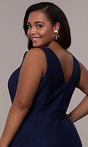 Image of long glitter-knit plus-size prom dress. Style: MO-21712W Detail Image 2