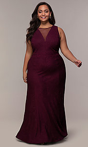 Image of long glitter-knit plus-size prom dress. Style: MO-21712W Detail Image 4