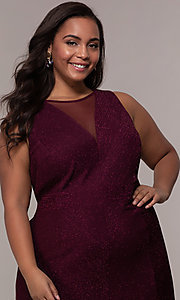 Image of long glitter-knit plus-size prom dress. Style: MO-21712W Detail Image 6