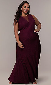 Image of long glitter-knit plus-size prom dress. Style: MO-21712W Detail Image 8