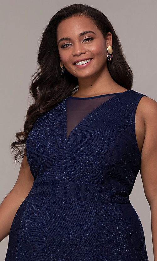 Image of long glitter-knit plus-size prom dress. Style: MO-21712W Detail Image 1