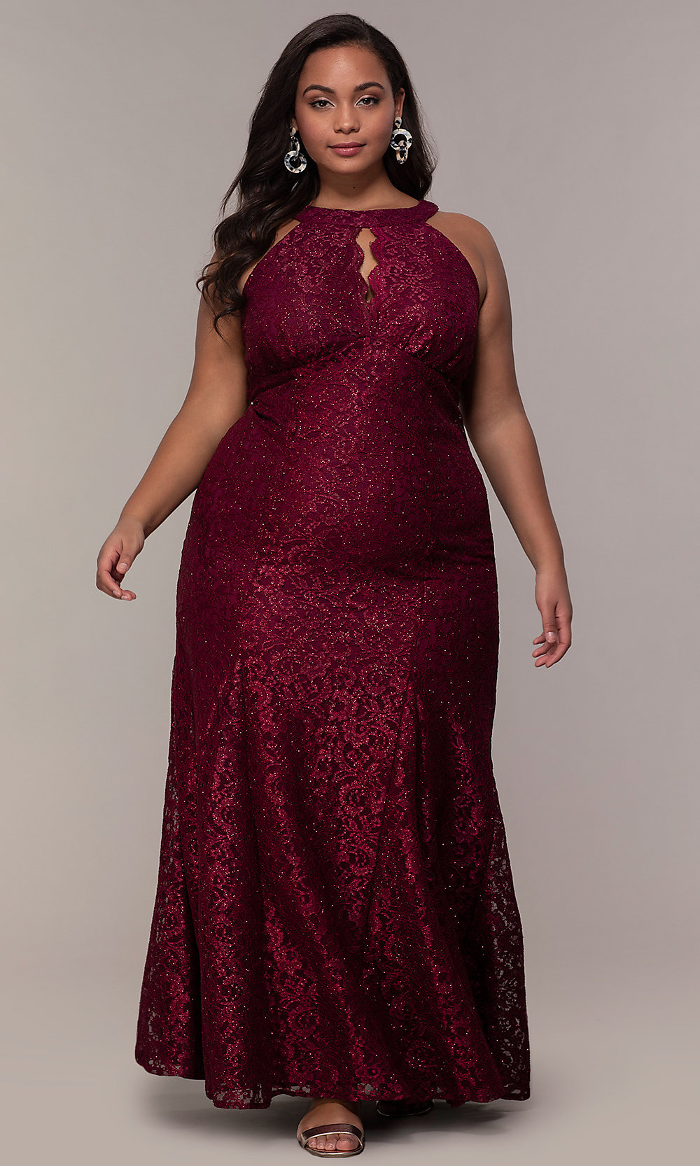 Empire-Waist Plus-Size Lace Long Prom Dress - PromGirl