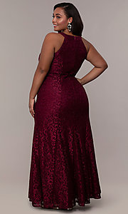 Image of empire-waist long plus glitter-lace prom dress. Style: MO-21713W Back Image