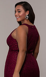 Image of empire-waist long plus glitter-lace prom dress. Style: MO-21713W Detail Image 2