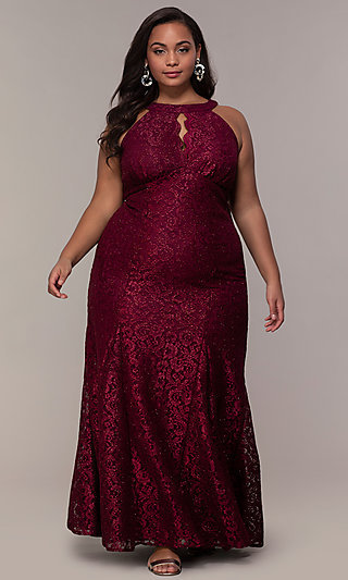 Empire-Waist Long Plus Glitter-Lace Prom Dress