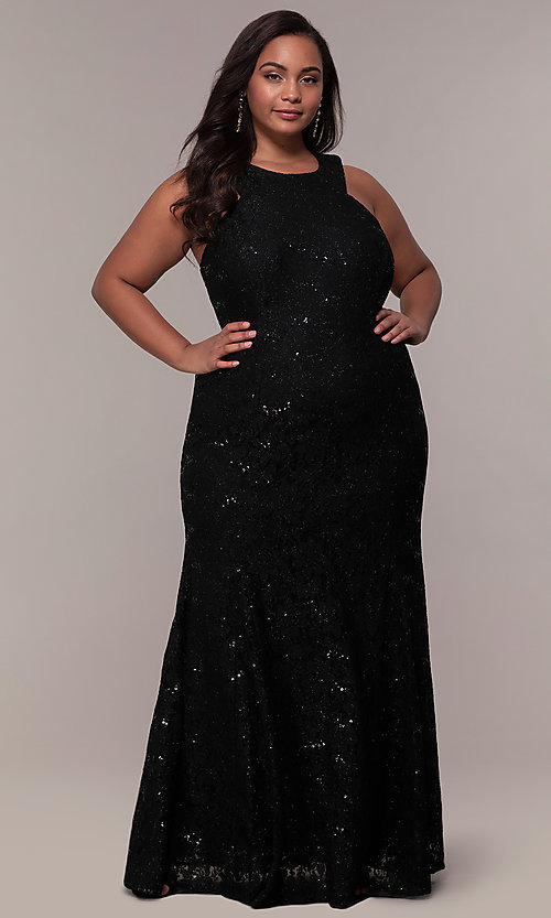 Long Glitter Lace Plus-Size Strappy Back Prom Dress