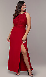 Image of long lace-bodice plus-size red prom dress. Style: MO-21799W Front Image