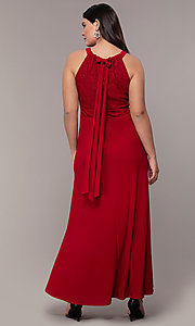 Image of long lace-bodice plus-size red prom dress. Style: MO-21799W Back Image