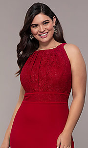 Image of long lace-bodice plus-size red prom dress. Style: MO-21799W Detail Image 1
