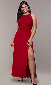 Image of long lace-bodice plus-size red prom dress. Style: MO-21799W Detail Image 3
