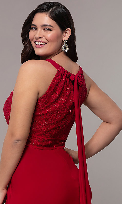 Image of long lace-bodice plus-size red prom dress. Style: MO-21799W Detail Image 2