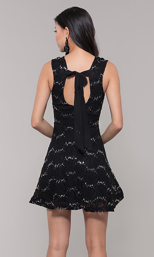 Image of silver and black short lace holiday dress. Style: SS-D71791P6HJL Back Image