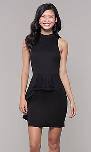 Image of high-neck little black party dress. Style: SS-D73901DBG Front Image
