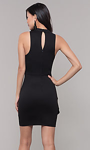 Image of high-neck little black party dress. Style: SS-D73901DBG Back Image