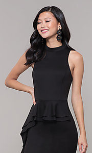 Image of high-neck little black party dress. Style: SS-D73901DBG Detail Image 1