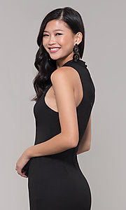 Image of high-neck little black party dress. Style: SS-D73901DBG Detail Image 2