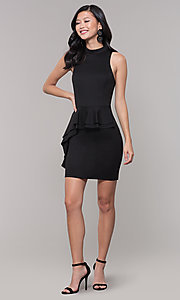 Image of high-neck little black party dress. Style: SS-D73901DBG Detail Image 3