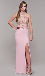 Image of high-neck long prom dress by PromGirl. Style: FB-PL-GL2282 Detail Image 4