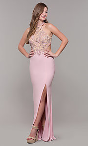 Image of high-neck long prom dress by PromGirl. Style: FB-PL-GL2282 Detail Image 3