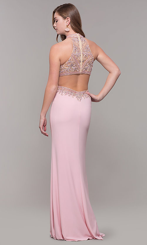 Image of high-neck long prom dress by PromGirl. Style: FB-PL-GL2282 Detail Image 5