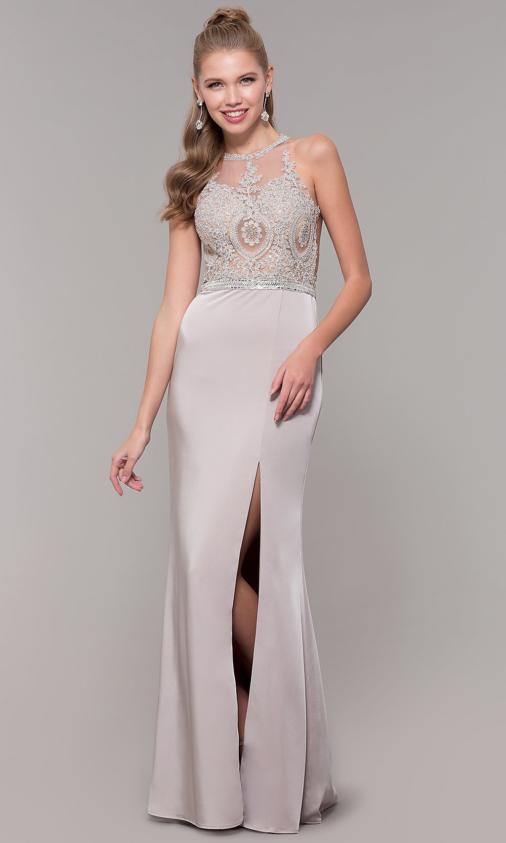 Chiffon Long Illusion-Bodice Prom Dress with Embroidered Lace