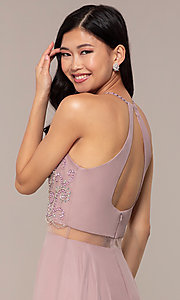 Image of long mock two-piece prom dress by PromGirl. Style: DQ-PL-2734 Detail Image 2