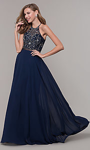 Image of long mock two-piece prom dress by PromGirl. Style: DQ-PL-2734 Detail Image 4