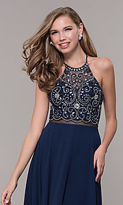 Image of long mock two-piece prom dress by PromGirl. Style: DQ-PL-2734 Detail Image 6
