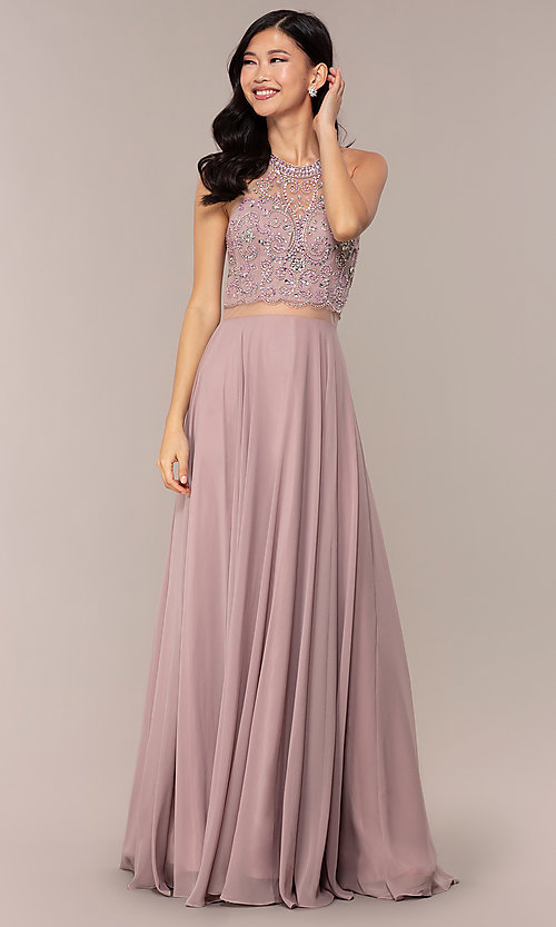 Image of long mock two-piece prom dress by PromGirl. Style: DQ-PL-2734 Front Image