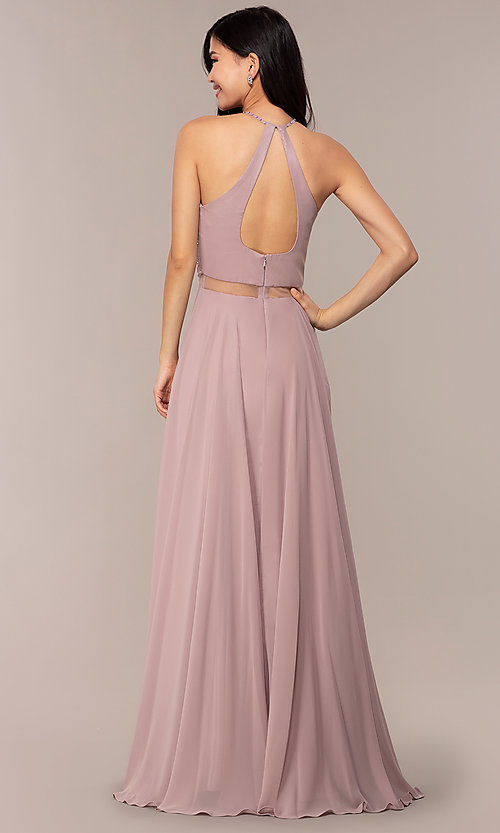 Image of long mock two-piece prom dress by PromGirl. Style: DQ-PL-2734 Back Image