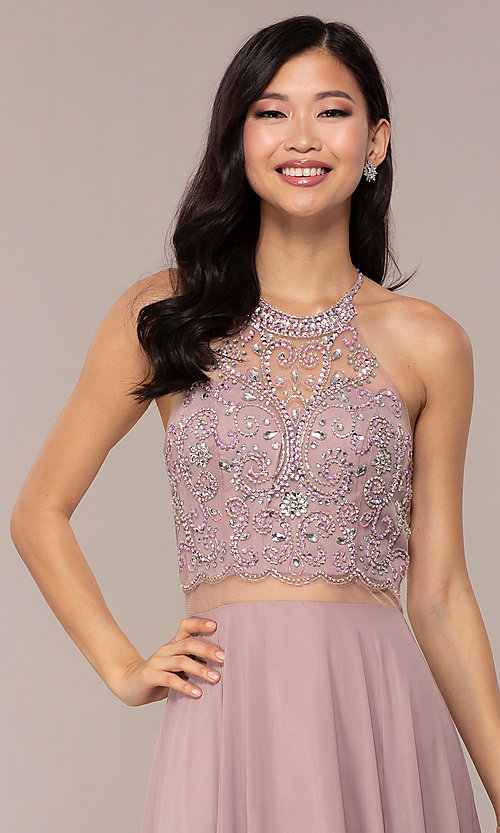 Image of long mock two-piece prom dress by PromGirl. Style: DQ-PL-2734 Detail Image 1
