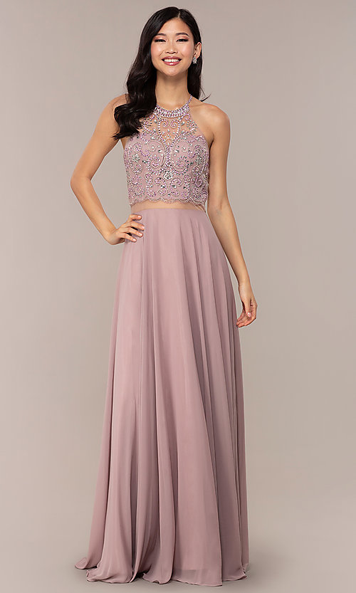 Image of long mock two-piece prom dress by PromGirl. Style: DQ-PL-2734 Detail Image 3