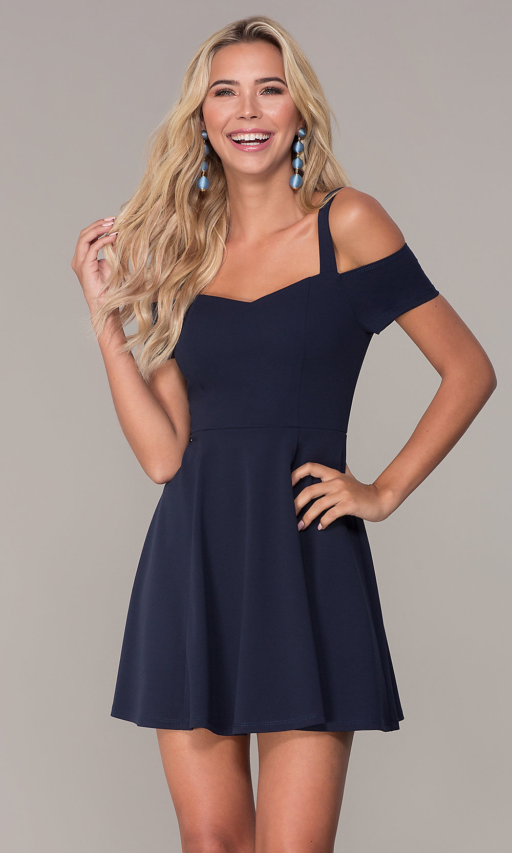 56aec18cbd Cold-Shoulder Short Holiday Party Dress - PromGirl