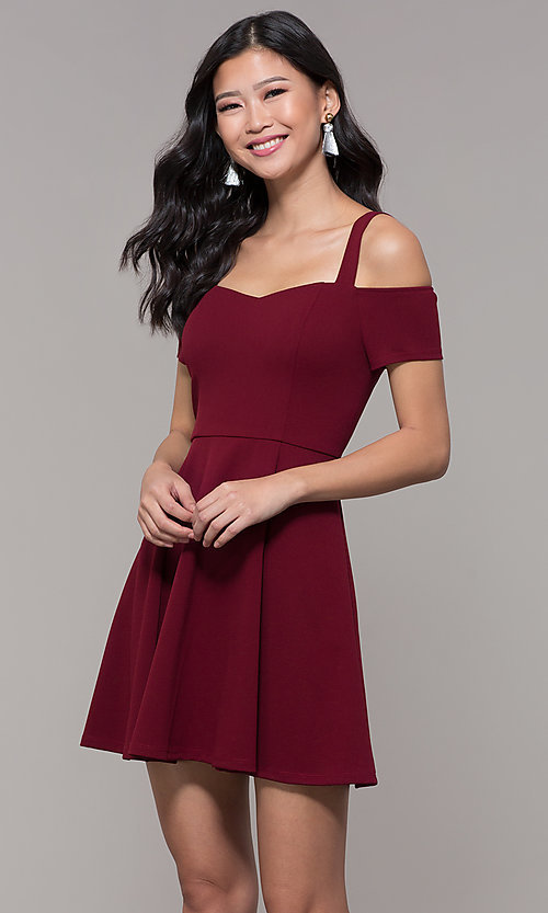 Image of short cold-shoulder homecoming dress by Simply. Style: MCR-SD-2529 Back Image