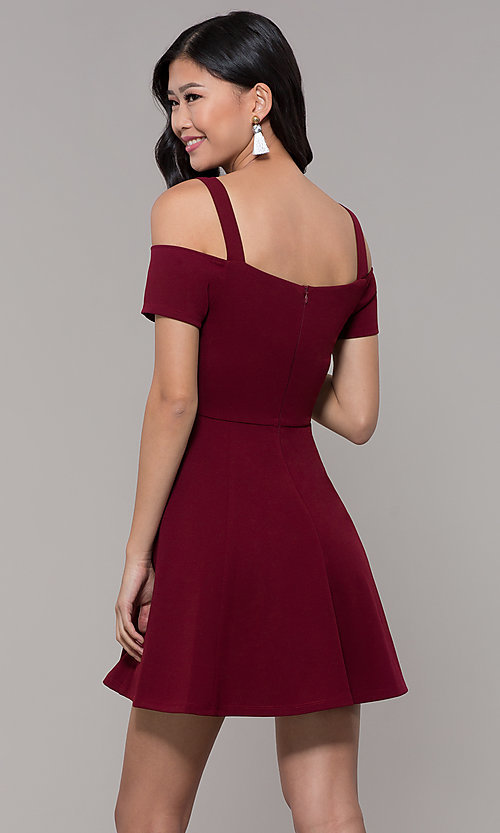Image of short cold-shoulder homecoming dress by Simply. Style: MCR-SD-2529 Front Image