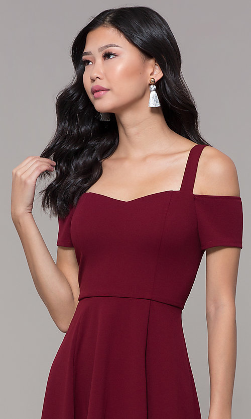 Image of short cold-shoulder homecoming dress by Simply. Style: MCR-SD-2529 Detail Image 1