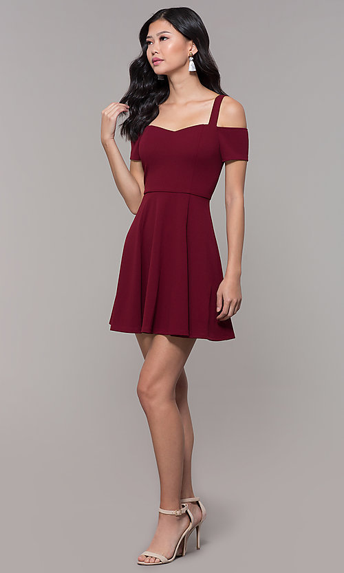 Image of short cold-shoulder homecoming dress by Simply. Style: MCR-SD-2529 Detail Image 3