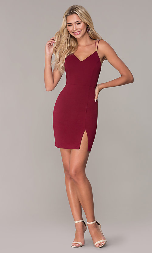 Image of short fitted jersey holiday dress by Simply. Style: MCR-SD-2541 Detail Image 3