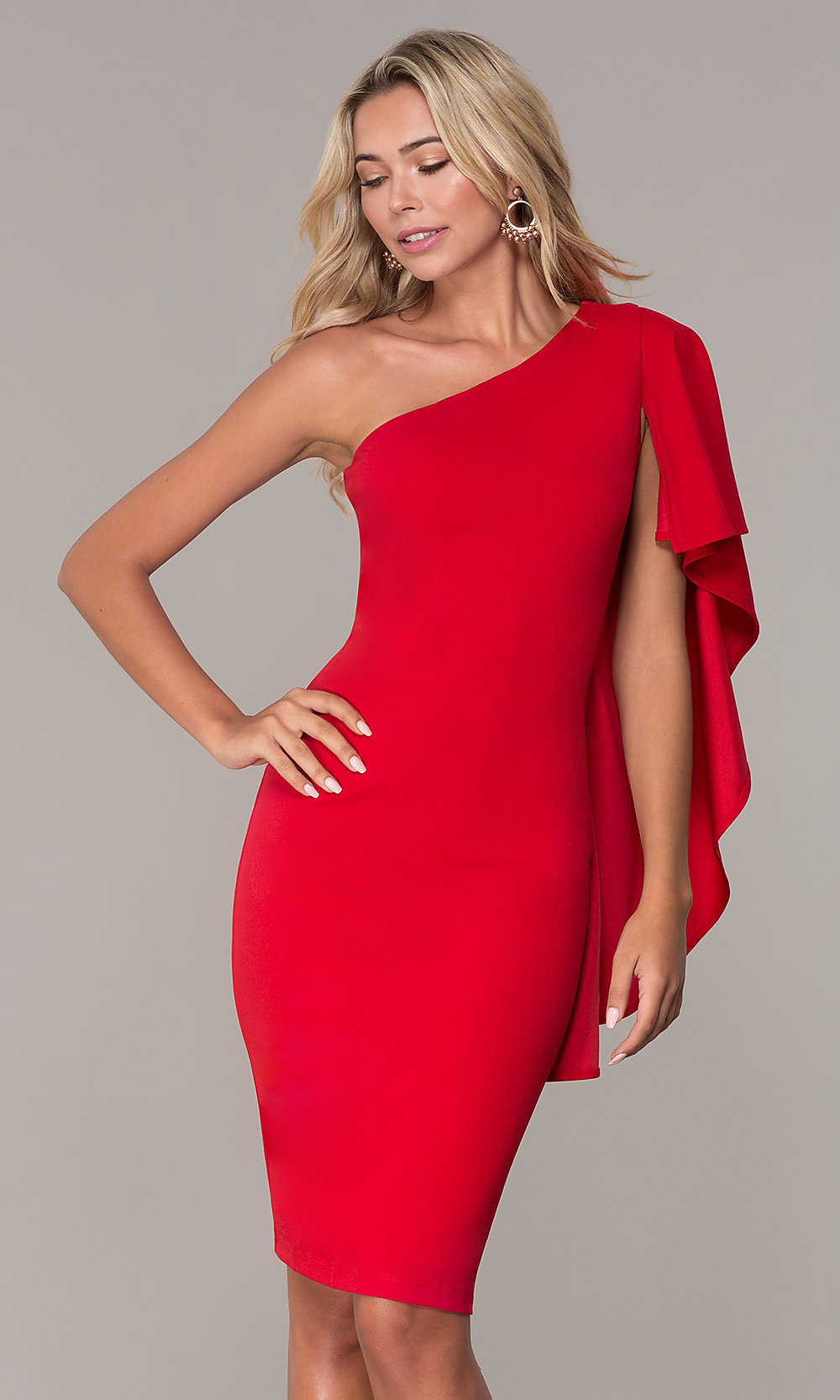 ce388c60ad4 Short One-Shoulder Red Cocktail Dress - PromGirl
