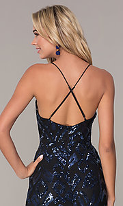 Image of short navy blue v-neck holiday dress by Simply. Style: MCR-SD-2517 Detail Image 2